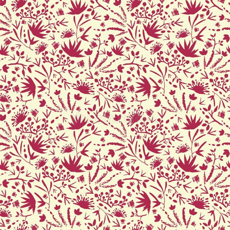 Gemaltes abstraktes nahtloses mit Blumenmuster stock abbildung