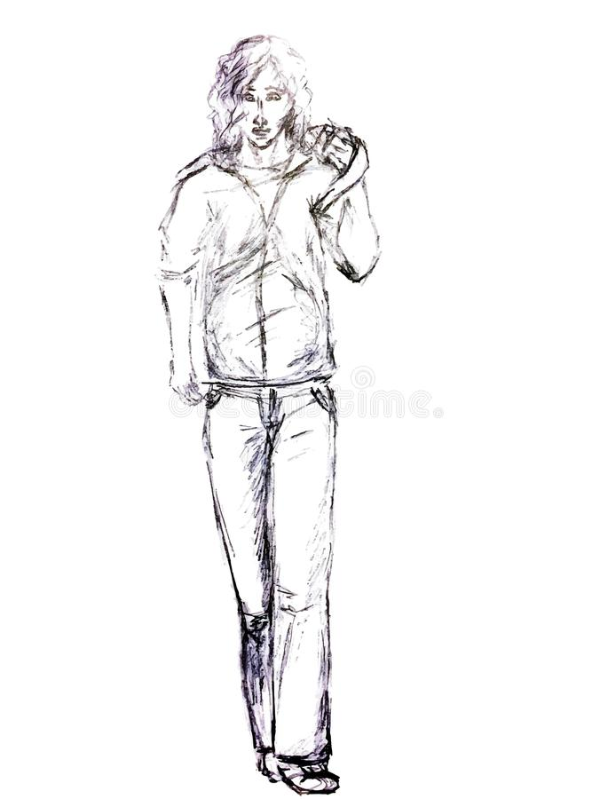 Gemaltes Schwarzweiss-Porträt eines Mannes lizenzfreie stockfotografie