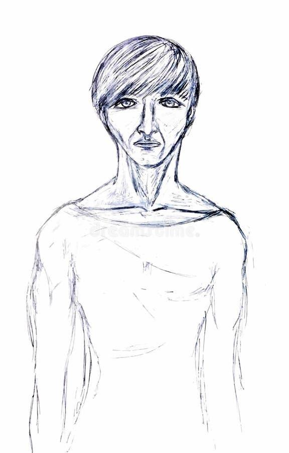 Gemaltes Schwarzweiss-Porträt eines Mannes stockbilder