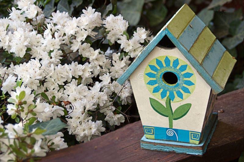 Gemaltes Vogelhaus und weiße Blumen stockfotos
