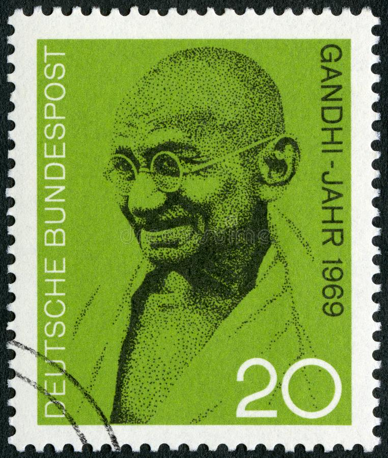 GEMANY - 1969: shows of Mohandas Karamchand Gandhi 1869-1948. GEMANY - CIRCA 1969: A stamp printed in Germany shows of Mohandas Karamchand Gandhi 1869-1948 stock photography