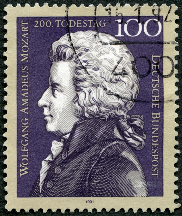 GEMANY - 1991: shows Wolfgang Amadeus Mozart 1756-1791, composer, death bicentenary. GEMANY - CIRCA 1991: A stamp printed in Germany shows Wolfgang Amadeus royalty free stock photos