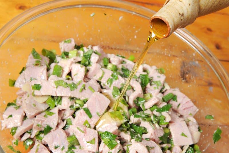 Gemarineerde tonijn stock afbeelding