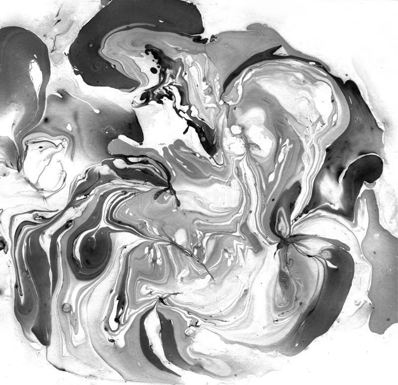 Gemarmorter abstrakter Schwarzweiss-Hintergrund Flüssiges Marmor-Illistration stockfotografie