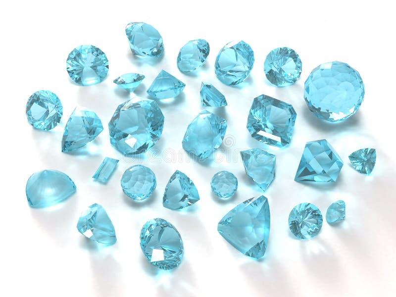 Gemas azuis do topaz ilustração royalty free