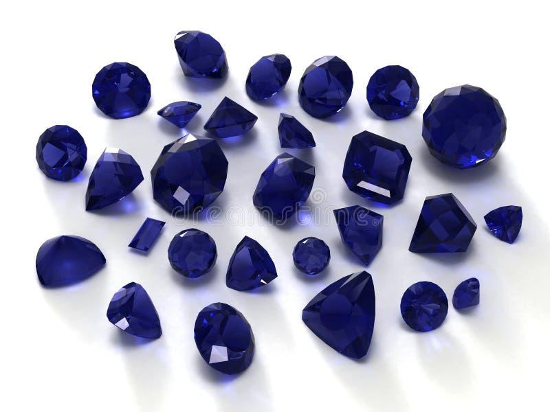 Gemas azules del zafiro imagen de archivo libre de regalías
