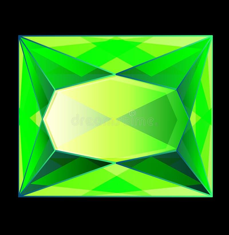 Gemas bonitas de uma safira verde esmeralda do diamante da gema ilustração do vetor