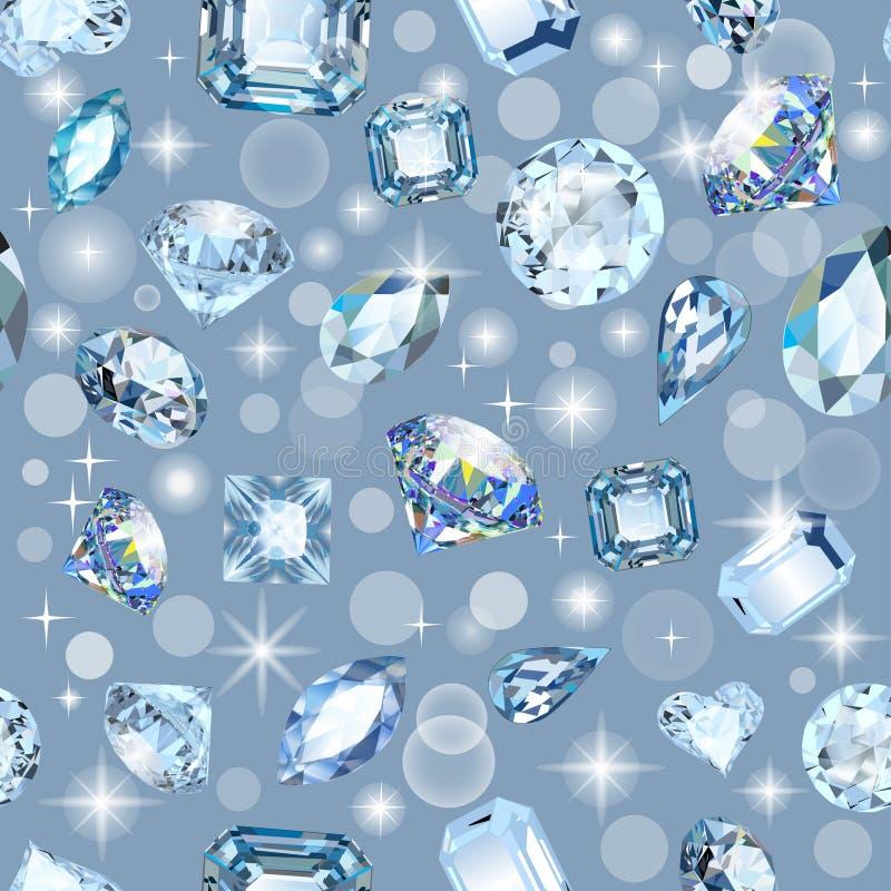 gemas brilhantes sem emenda do fundo de cortes diferentes ilustração stock