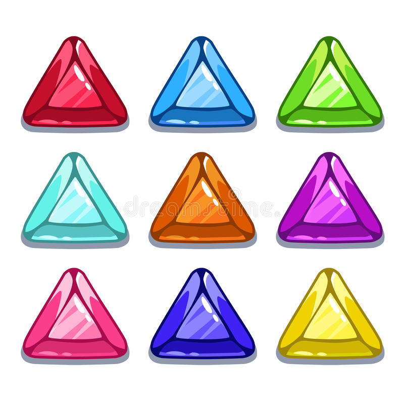 Gemas coloridas da forma do triângulo dos desenhos animados engraçados ilustração stock
