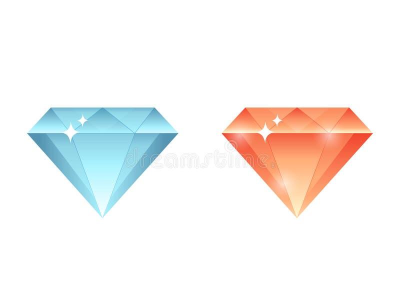 Gemas coloridas, diamantes, grupo de pedra da coleção dos cristais ilustração do vetor