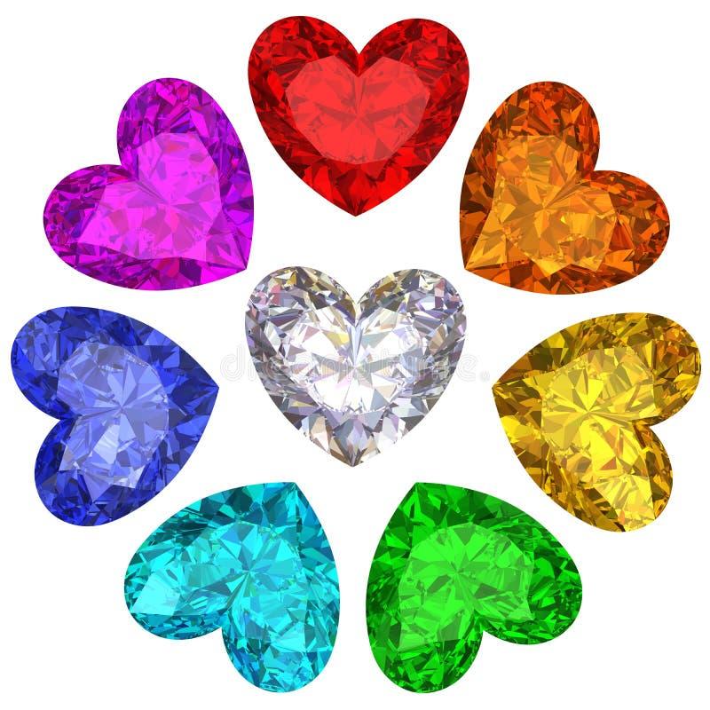 Gemas coloridas na forma do coração isolada no branco ilustração do vetor