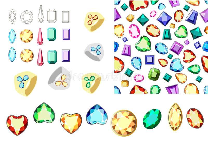 Gemas coloridos Grupo de pedras preciosas coloridos Teste padrão sem emenda com diamantes Borda para gemas ilustração do vetor