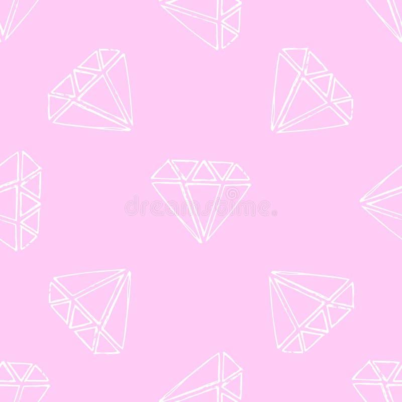 Gemas da ilustração Diamantes e diamantes em um fundo cor-de-rosa ilustração do vetor
