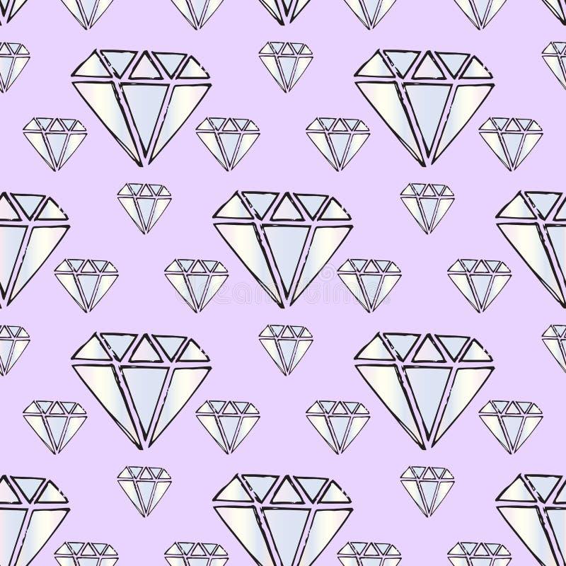 Gemas da ilustração Diamantes e diamantes em um fundo roxo ilustração royalty free