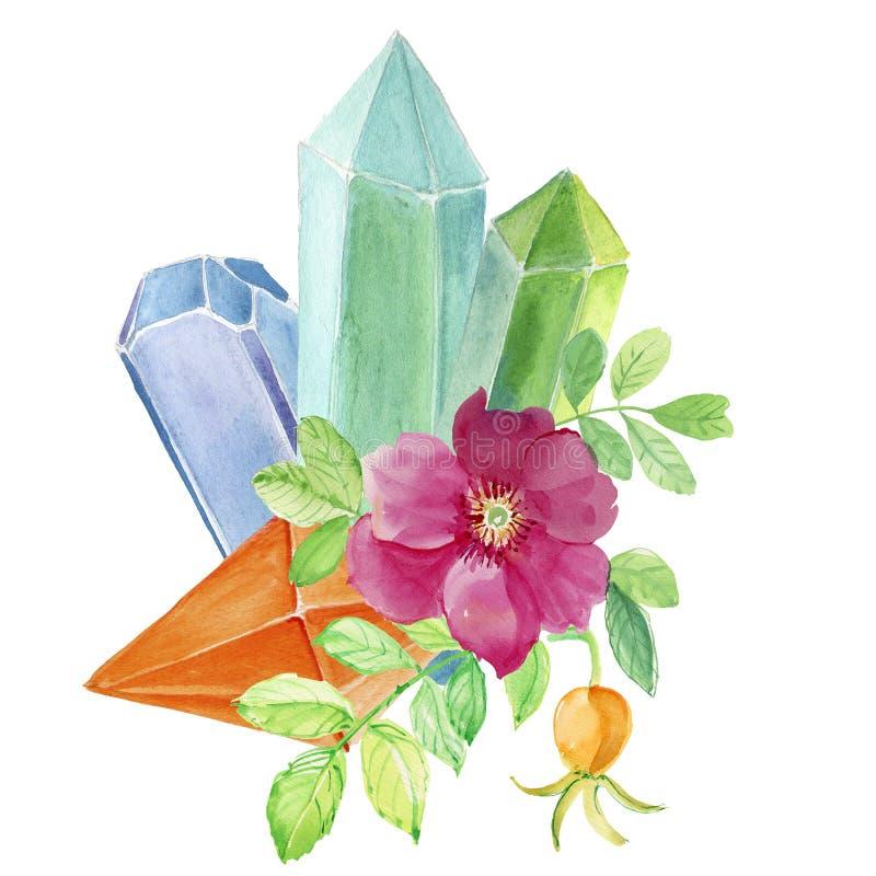 Gemas de cristal da aquarela e flor cor-de-rosa ilustração royalty free
