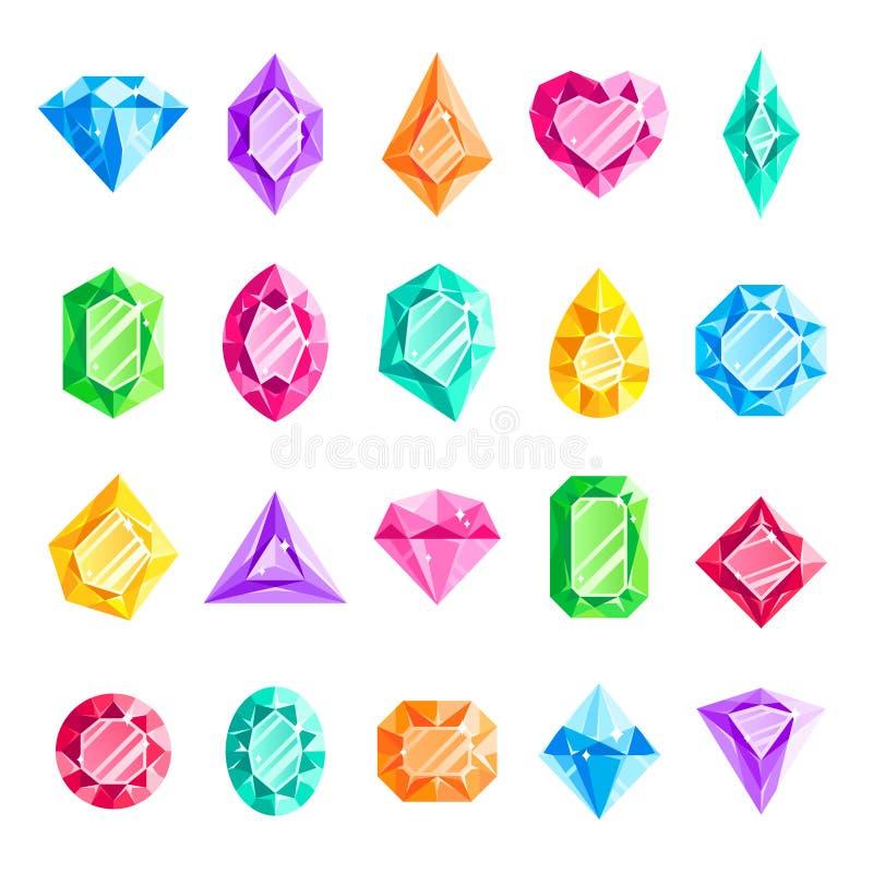 Gemas de las joyas Diamante de la joyería, gema cristalina del corazón de la joya y sistema aislado piedra preciosa del ejemplo d ilustración del vector