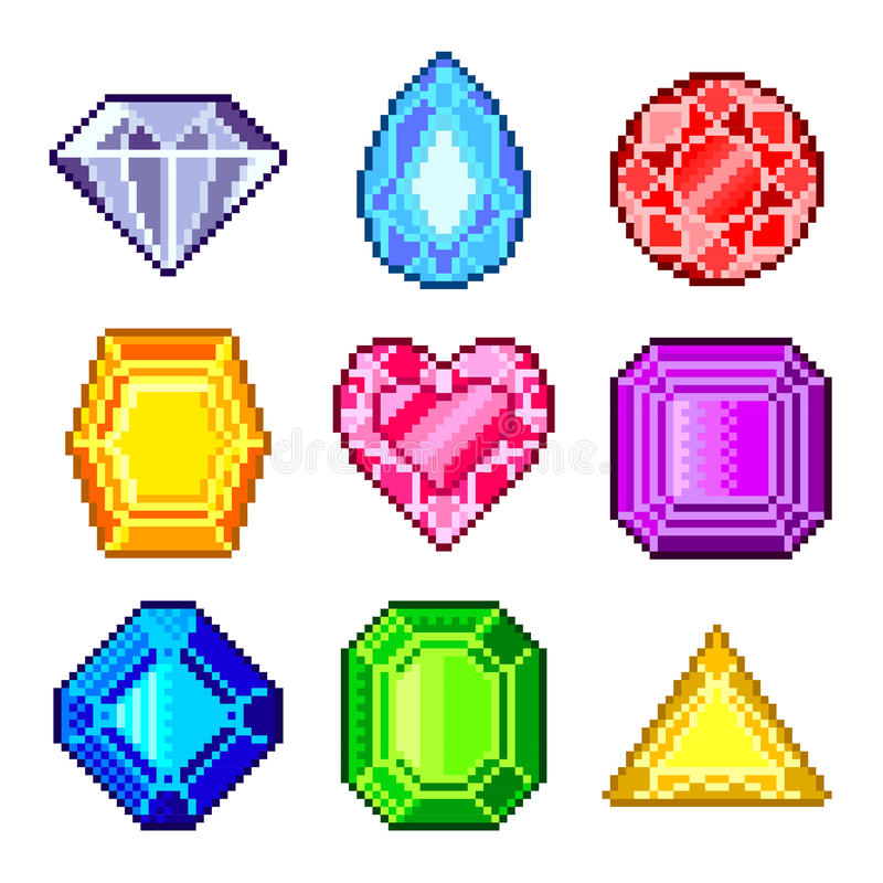 Gemas del pixel para el sistema del vector de los iconos de los juegos stock de ilustración