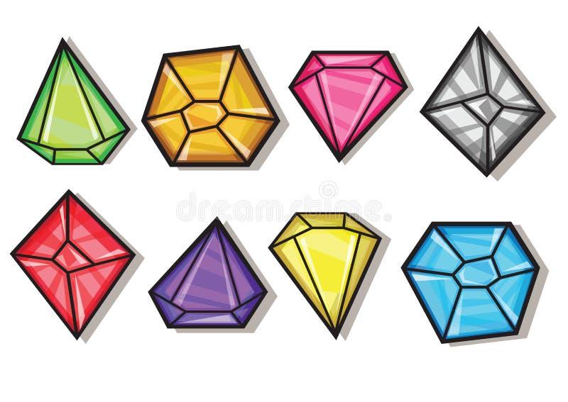 Gemas del vector de la historieta e iconos de los diamantes fijados ilustración del vector