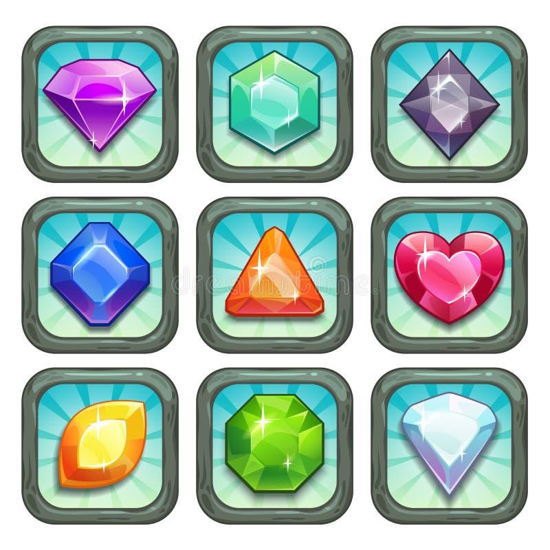 Gemas del vector de la historieta e iconos del app de los diamantes fijados libre illustration