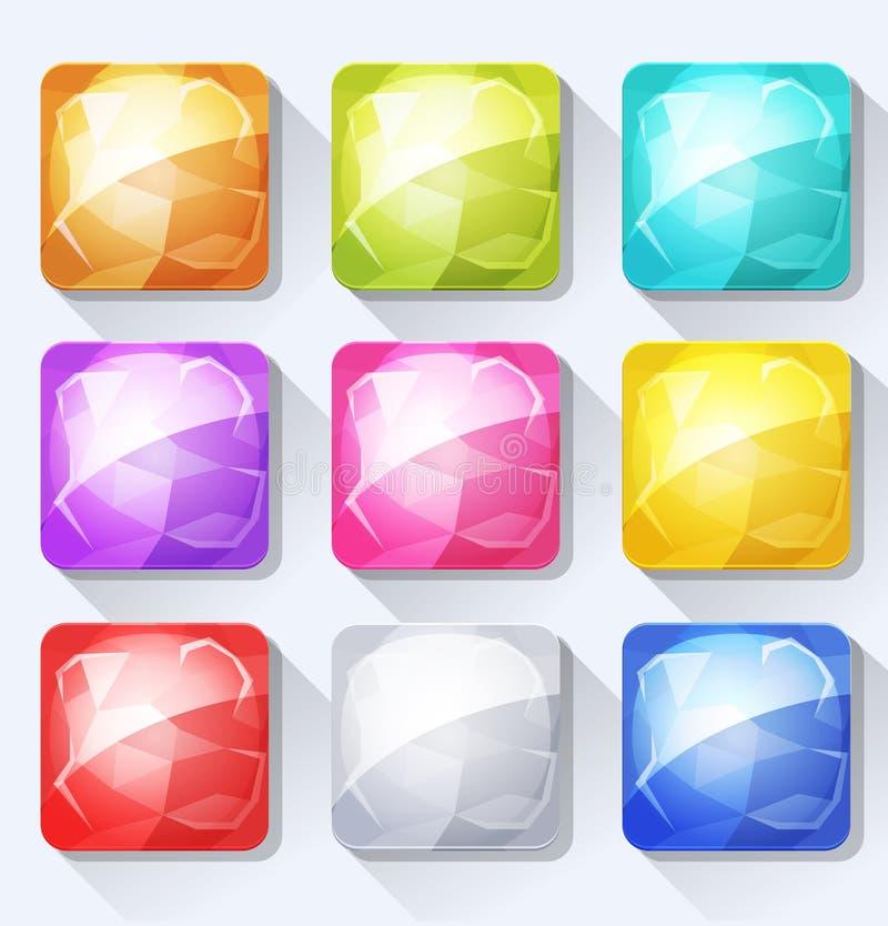 Gemas e iconos y botones de la joya fijados para App y el juego móviles Ui ilustración del vector