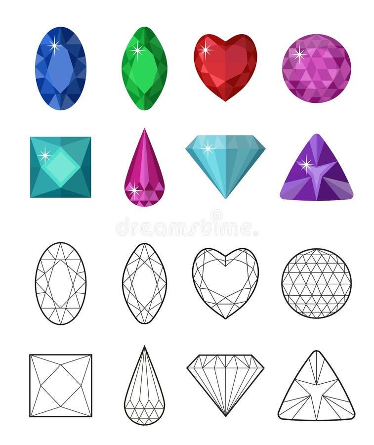 Gemas e linha de corte grupo Facetas diferentes para cristais Coleção da joia isolada no fundo branco Diamantes ilustração royalty free
