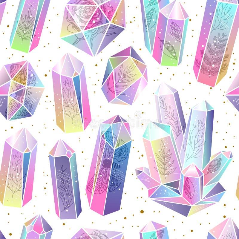 Gemas, vector inconsútil del modelo de los cristales stock de ilustración