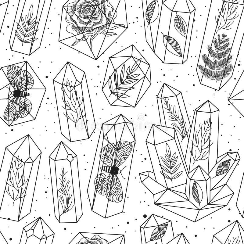 Gemas, vetor sem emenda do teste padrão dos cristais ilustração royalty free