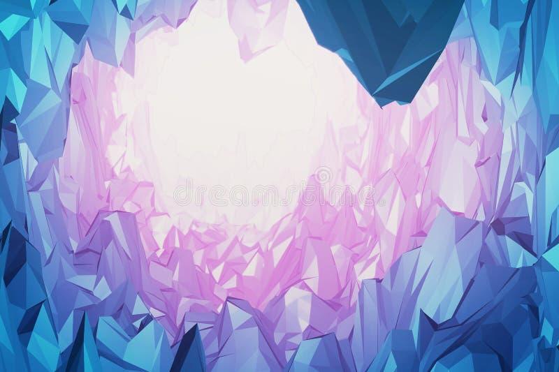Gemas y montaña de los cristales stock de ilustración