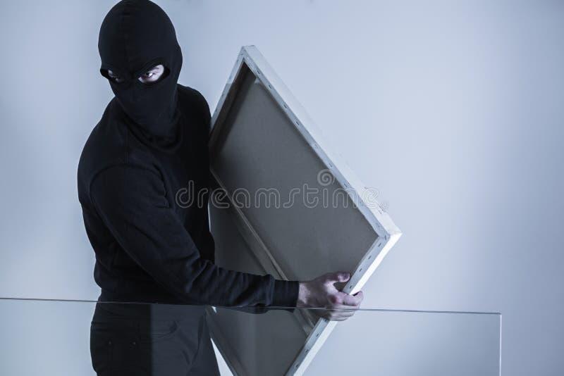 Gemaskeerd misdadig holding gestolen beeld stock afbeelding