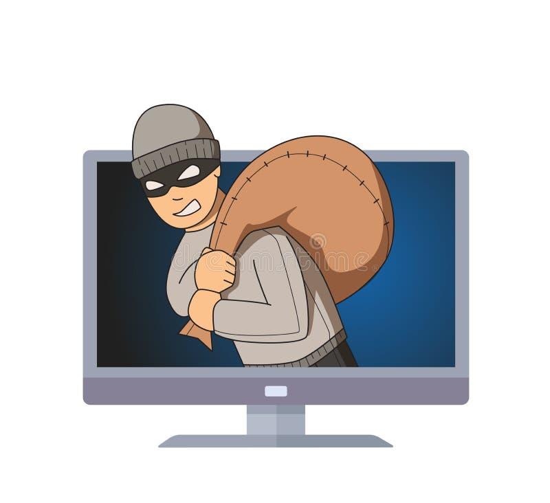 Gemaskeerde inbreker die in computermonitor glimlachen met zak op zijn schouder Misdadiger op TV Vlakke vectorillustratie Geïsole vector illustratie