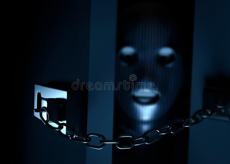 Gemaskeerde inbreker die in een huis binnengaan 3D Illustratie vector illustratie