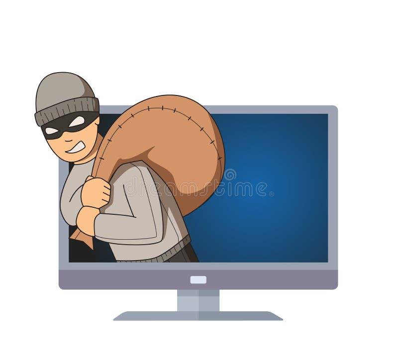 Gemaskeerde inbreker die uit de monitor met zak op zijn schouder springen Misdadig karakter op TV Vlakke vectorillustratie stock illustratie