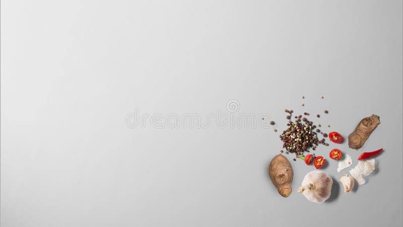 Gember, knoflook, Spaanse peper, rode Spaanse pepers en zwarte peper stock foto's