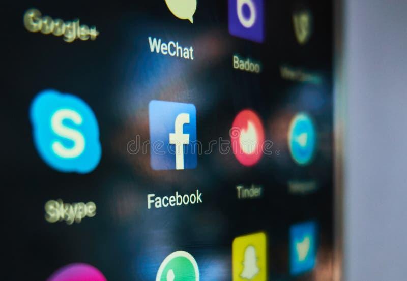 Gemeenschappelijke sociale media toepassingen stock afbeeldingen