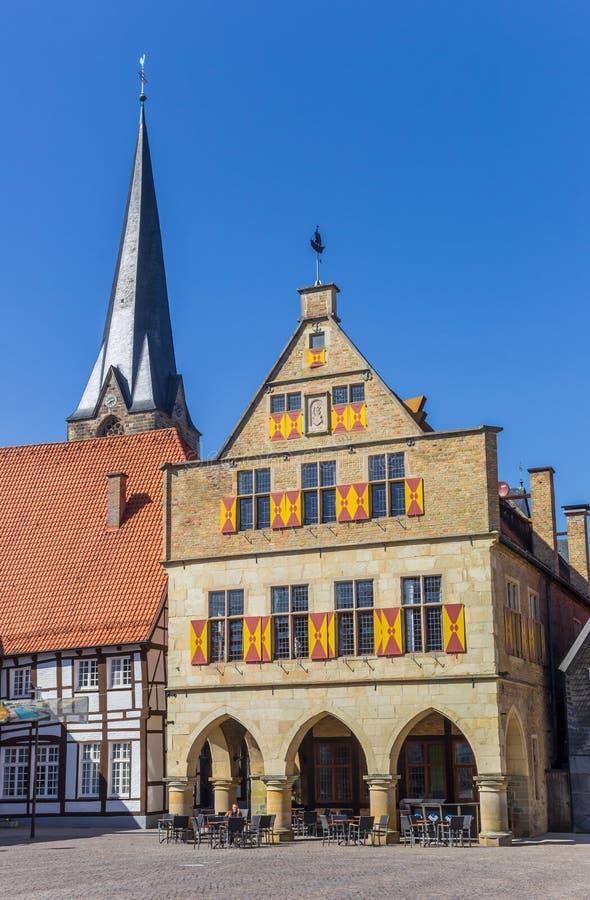 Gemeente en kerktoren in Werne stock foto