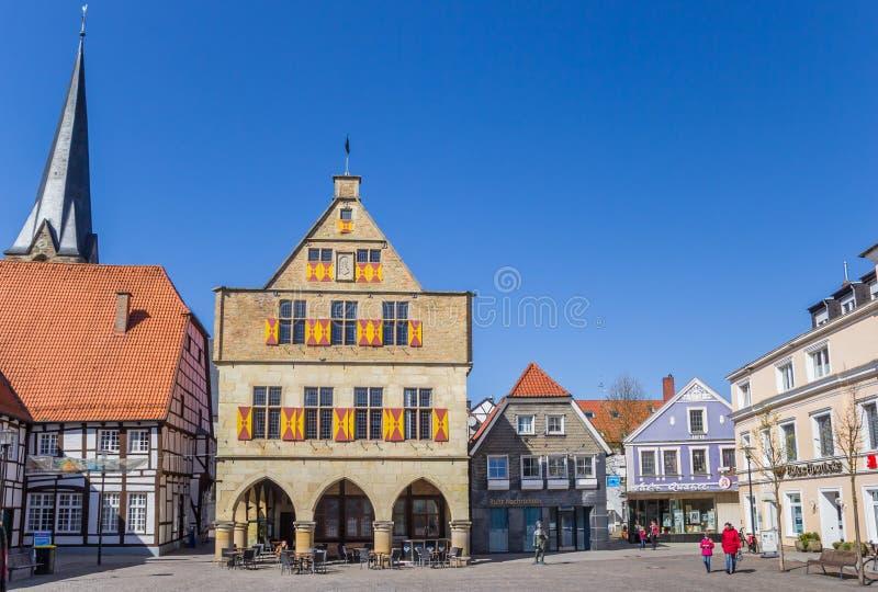 Gemeente en kerktoren in Werne stock fotografie