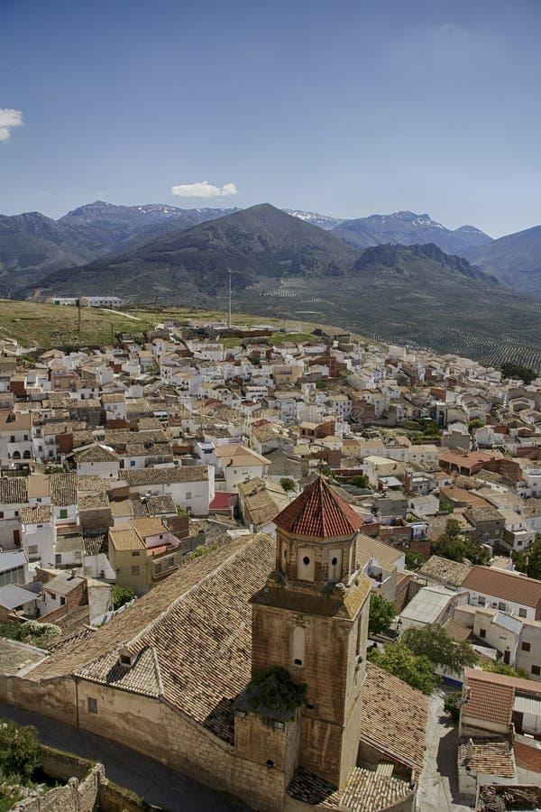 Gemeenten van de provincie van Jaén, Bedmar en Agosie Bosch stock foto's