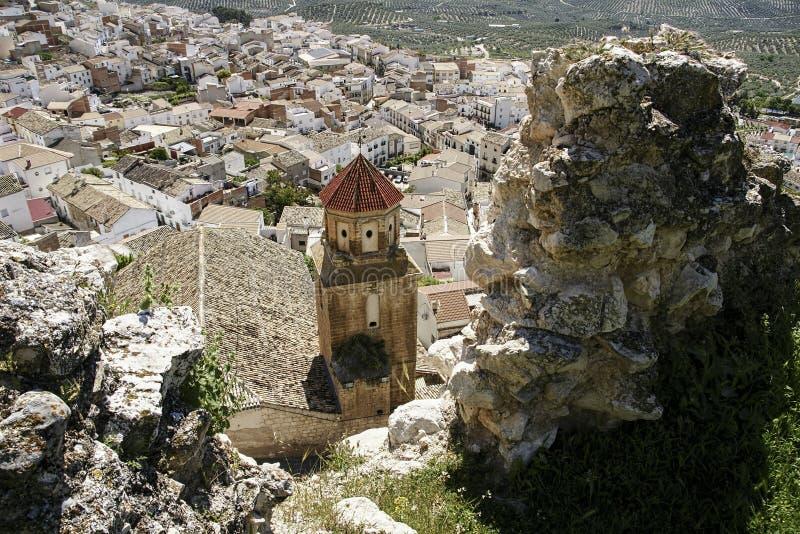 Gemeenten van de provincie van Jaén, Bedmar en Agosie Bosch stock afbeeldingen