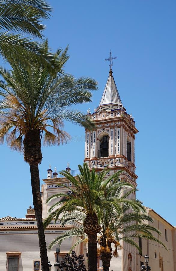 Gemeinde-Kirche Iglesia De San Pedro in Huelva Spanien stockbild