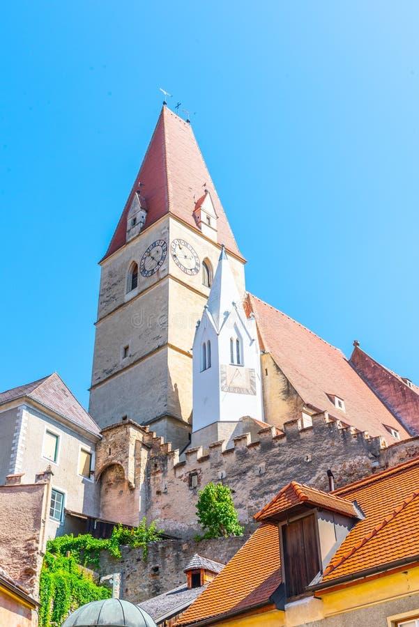 Gemeindekirche der Annahme von Jungfrau Maria, Weissenkirchen im der Wachau, Österreich stockfotografie