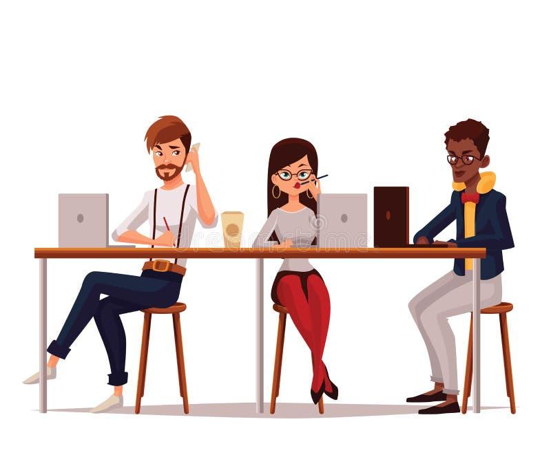 Gemeinsame Arbeit in der coworking Mitte lizenzfreie abbildung