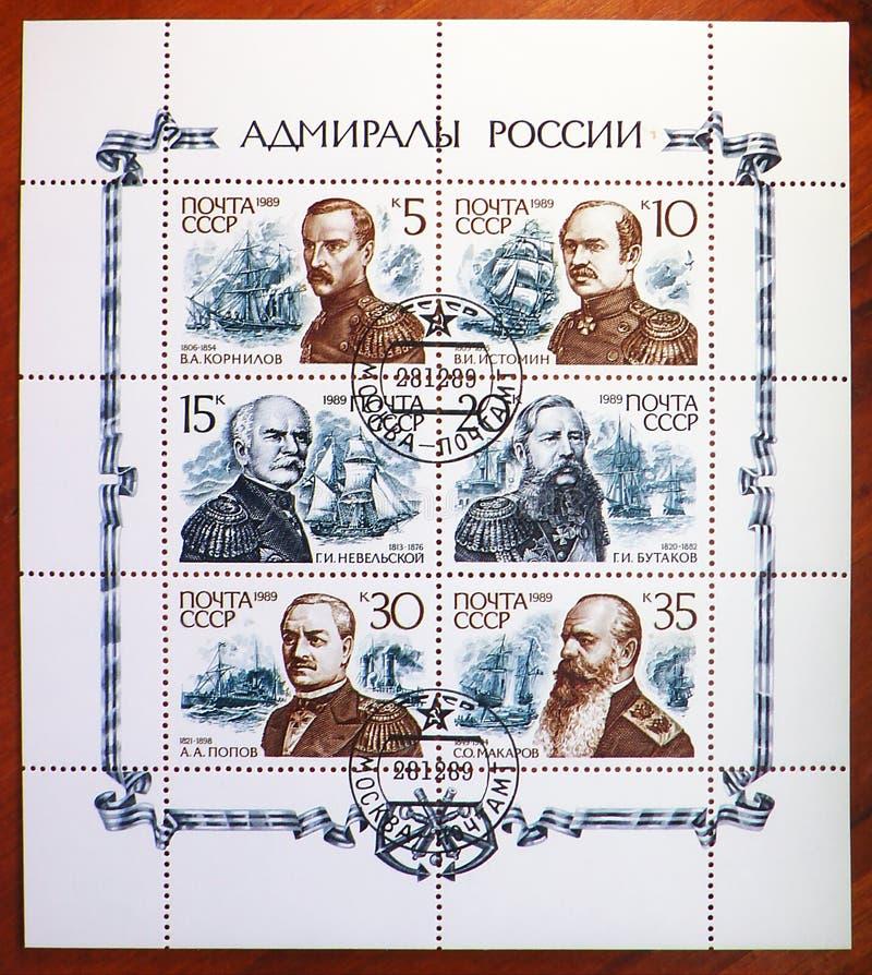 Gemeinsame Ausgabe der Russischen Admiralserie um 1989 stockbilder