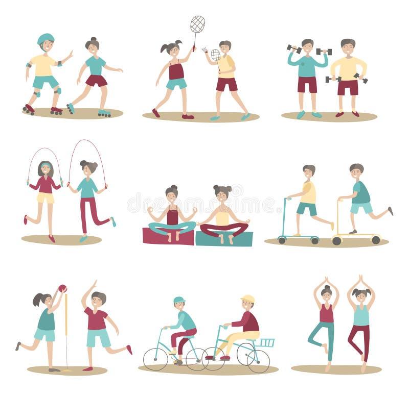 Gemeinsame Sportt?tigkeiten, junge Leute, die Spa? zusammen haben Aktiver Lebensstil, Sportunterhaltung drau?en Satz Haltungen lizenzfreie abbildung
