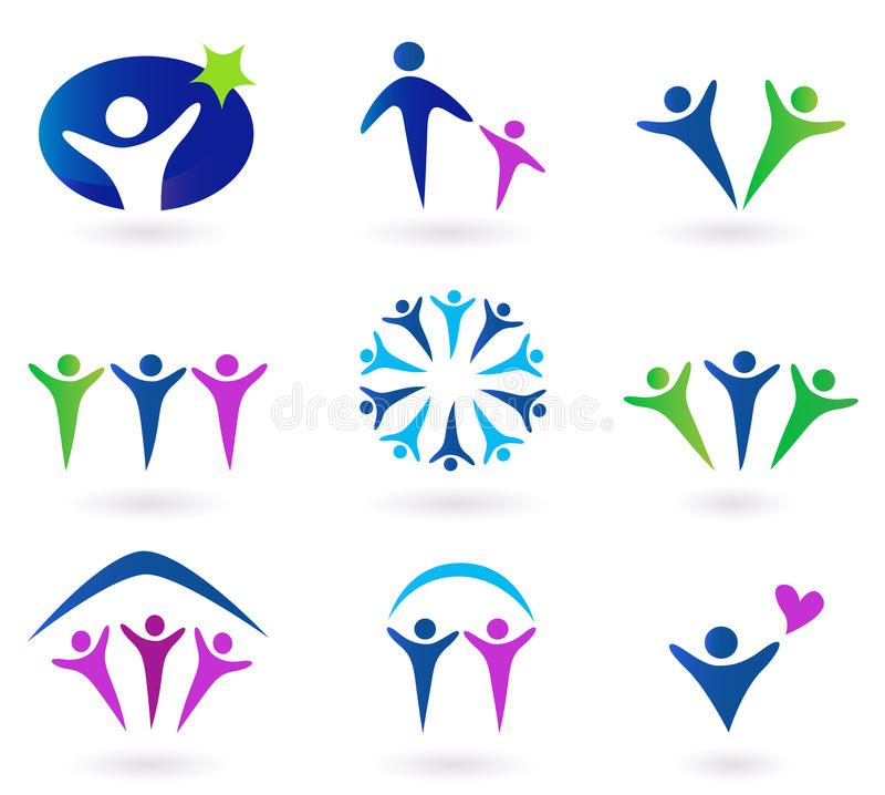 Gemeinschaft, Netz und Sozialikonen - Blau, grün lizenzfreie stockbilder