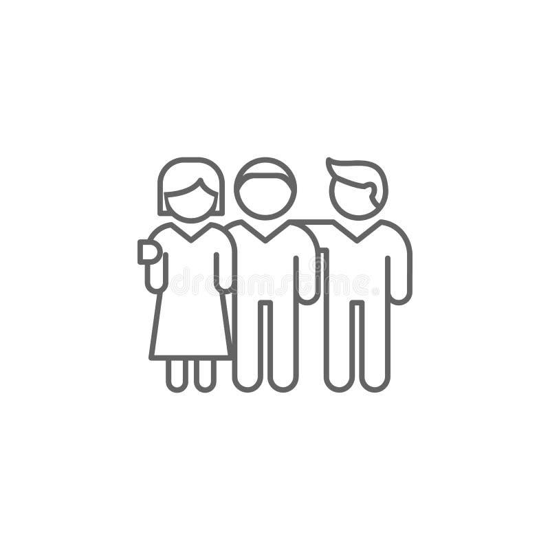 Gemeinschaftsfreundschafts-Entwurfsikone Elemente der Freundschaftslinie Ikone Zeichen, Symbole und Vektoren können für Netz, Log stock abbildung