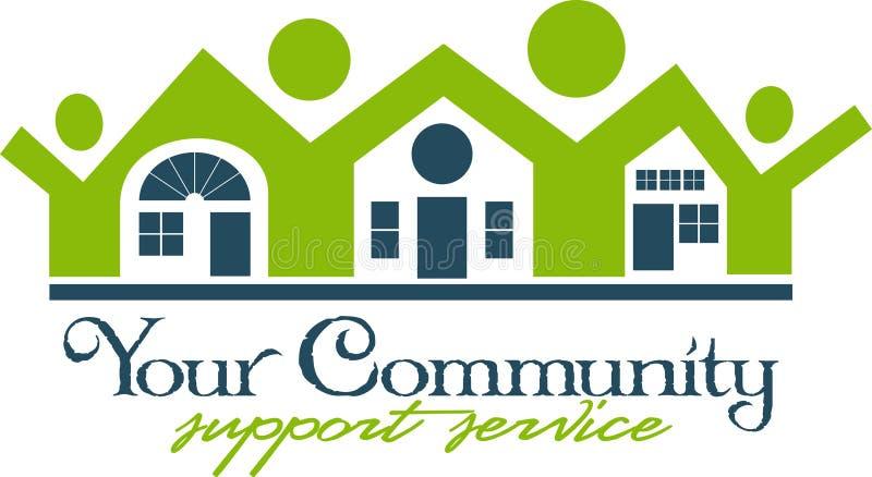 Gemeinschaftshaus und Leute-Ikone lizenzfreie abbildung