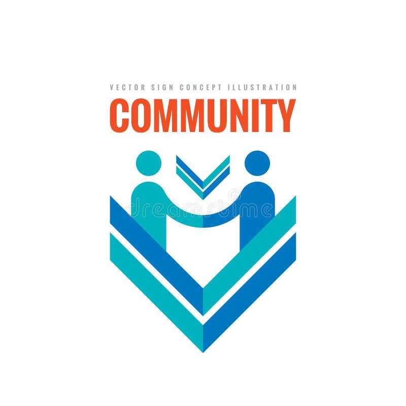 Gemeinschaftspartnerschaft - vector Geschäftslogoschablonen-Konzeptillustration Der kreative Geschäftsmannhändedruck unterzeichne stock abbildung