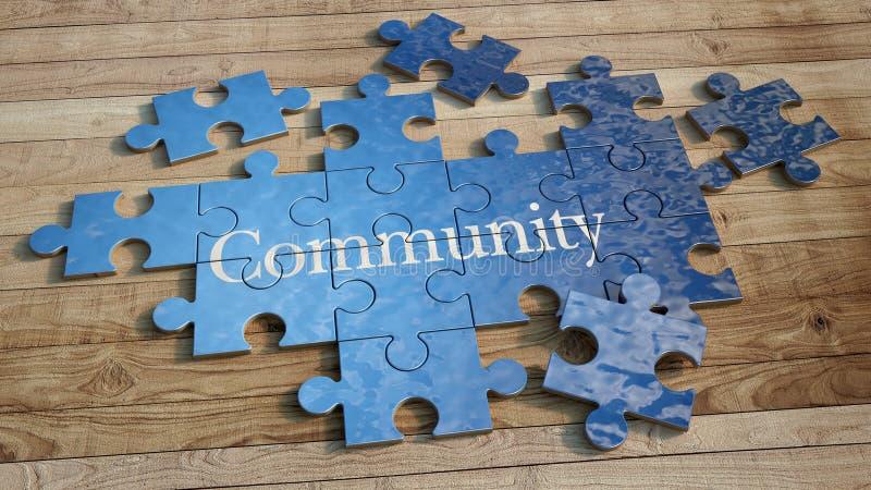 Gemeinschaftspuzzlespiel stock abbildung