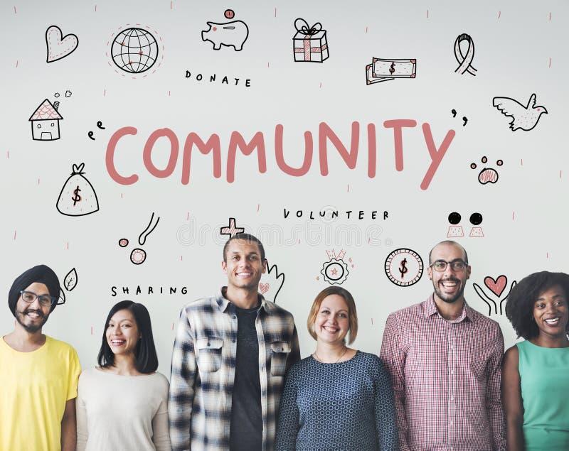 Gemeinschaftsspenden-Nächstenliebe-Grundlagen-Stützkonzept stockbild