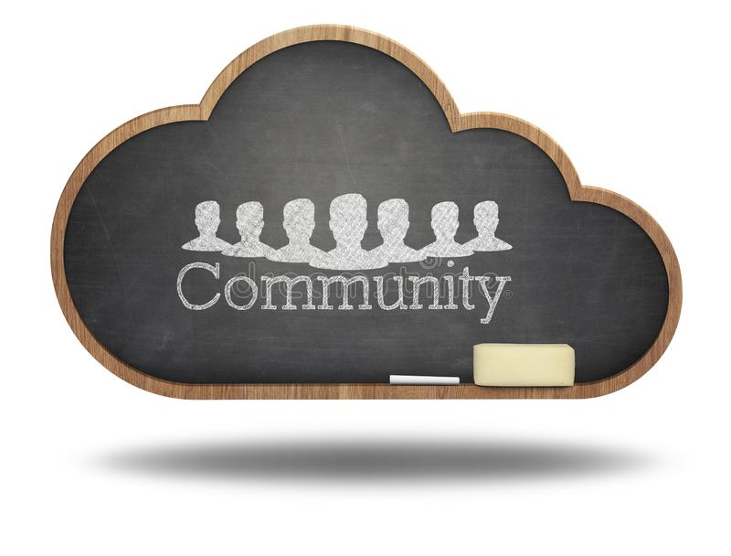 Gemeinschaftswort-Wolkenkonzept auf Tafel stockfoto
